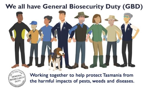 GBD graphic says working together to help protect Tasmania from the harmful impacts of pests, weeds and diseases.