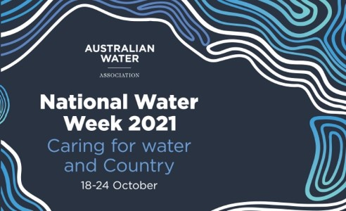 National water week - Caring for water and country 18-24 October. Graphic event poster